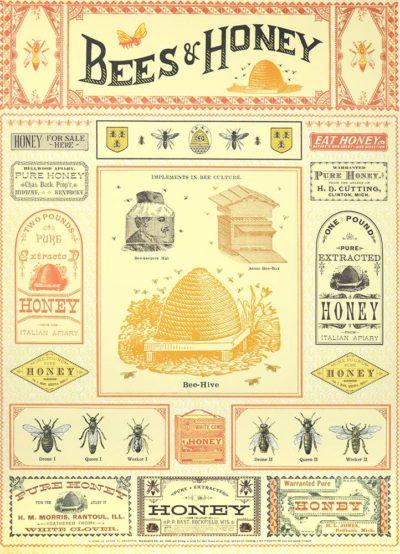 Affiche vintage  RUCHE ABEILLE ET MIEL Dimensions : 70 x 50 cm