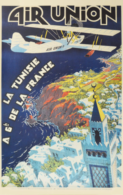 Affiche Rétro AIR FRANCE AIR UNION TUNISIE Dimensions : 100 x 63 cm