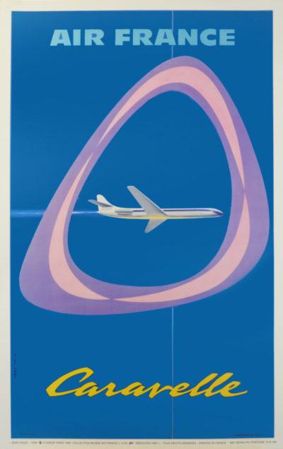 Affiche Rétro AIR FRANCE CARAVELLE Dimensions : 100 x 63 cm