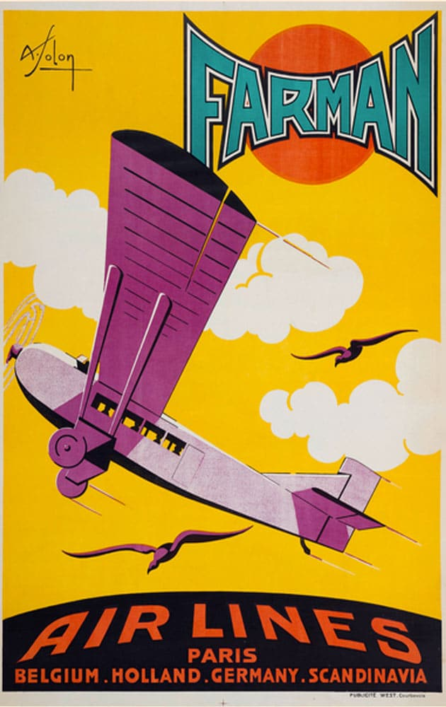 Affiche Rétro AIR FRANCE FARMAN Dimensions : 100 x 63 cm