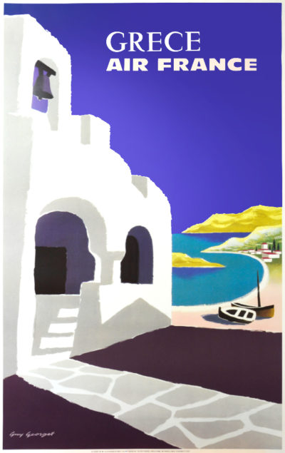 Affiche Rétro AIR FRANCE GRECE Dimensions : 100 x 63 cm