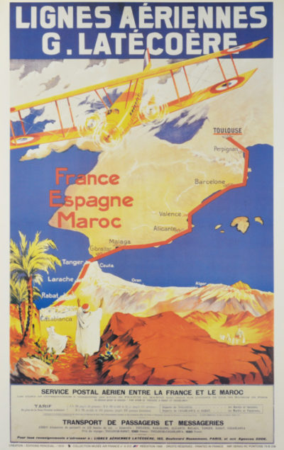 Affiche Rétro AIR FRANCE LIGNES LATECOERE Dimensions : 100 x 63 cm