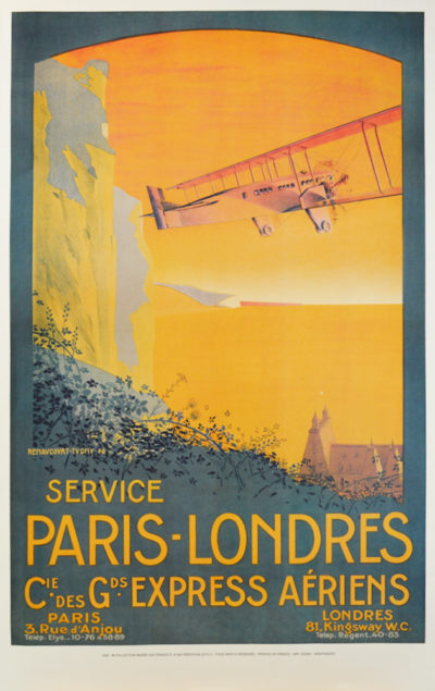 Affiche Rétro AIR FRANCE PARIS-LONDRES Dimensions : 100 x 63 cm