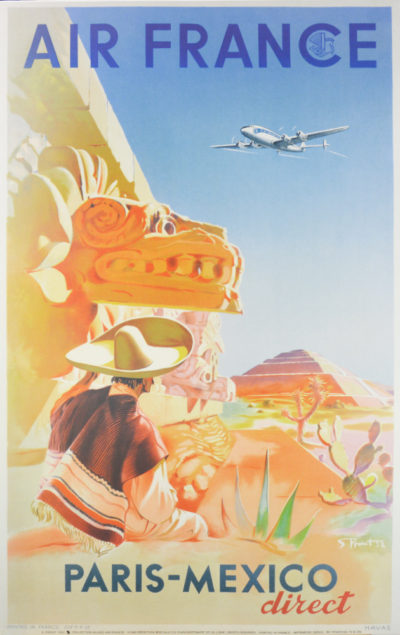 Affiche Rétro AIR FRANCE MEXICO Dimensions : 100 x 63 cm