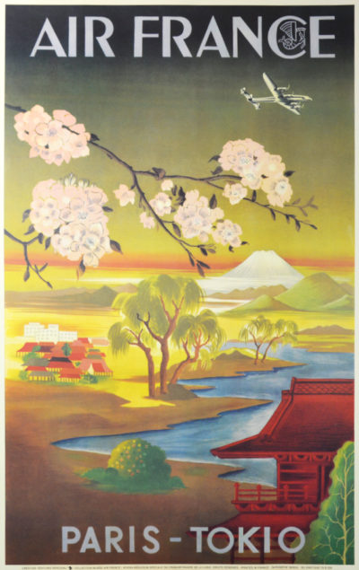 Affiche Rétro AIR FRANCE PARIS TOKIO Dimensions : 100 x 63 cm