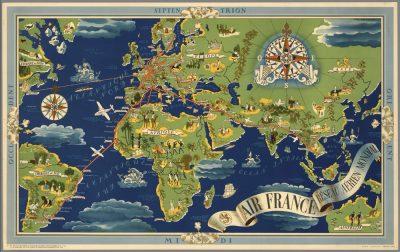 Affiche Rétro AIR FRANCE PLANISPHERE 1937 Dimensions : 63 x 100 cm