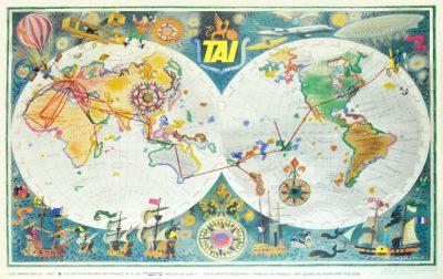 Affiche Rétro AIR FRANCE PLANISPHERE 1960 Dimensions : 63 x 100 cm