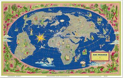 Affiche Rétro AIR FRANCE PLANISPHERE 1959 Dimensions : 63 x 100 cm