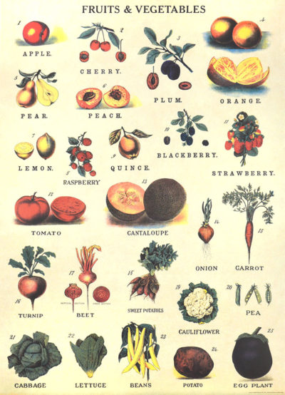 Affiche vintage  NATURE FRUITS ET LEGUMES Dimensions : 70 x 50 cm