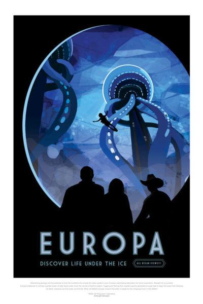 Affiche Rétro La Nasa  EUROPA Dimensions : 70 x 50 cm