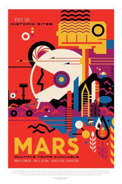 Affiche Rétro La Nasa  MARS Dimensions : 70 x 50 cm