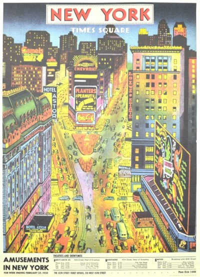Affiche vintage  NEW YORK TIME SQUARE Dimensions : 70 x 50 cm