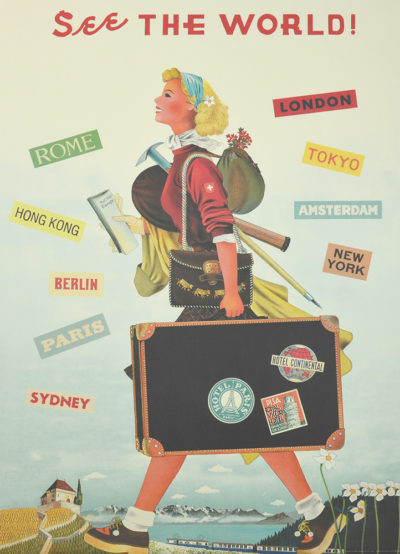 Affiche vintage  VALISE SEE THE WORLD Dimensions : 70 x 50 cm