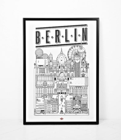 Affiche illustration ville Dimensions : 45 x 32 cm