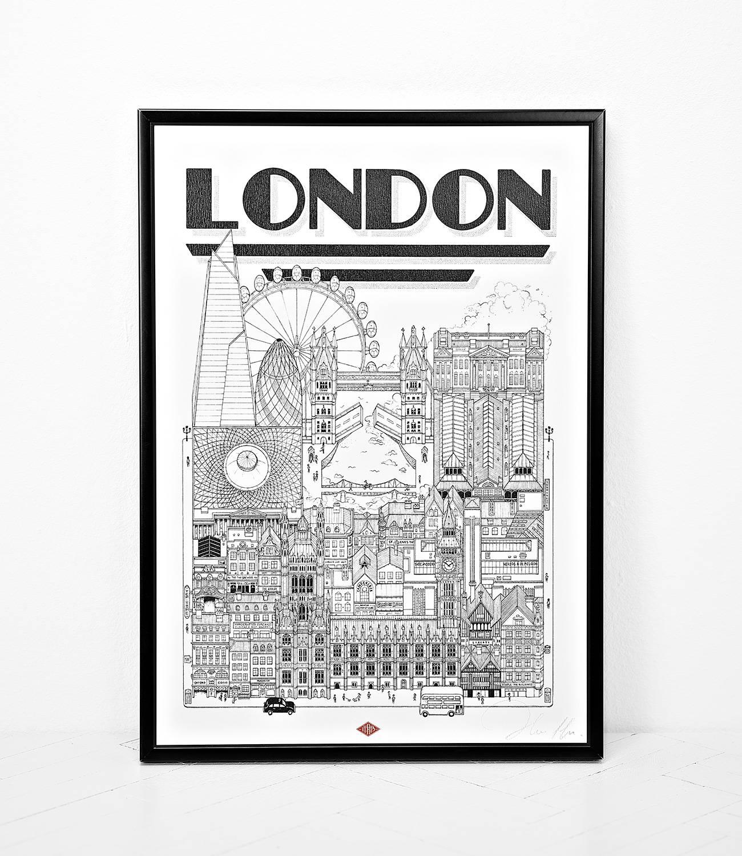 Affiche illustration ville Dimensions : 45 x 32 cm
