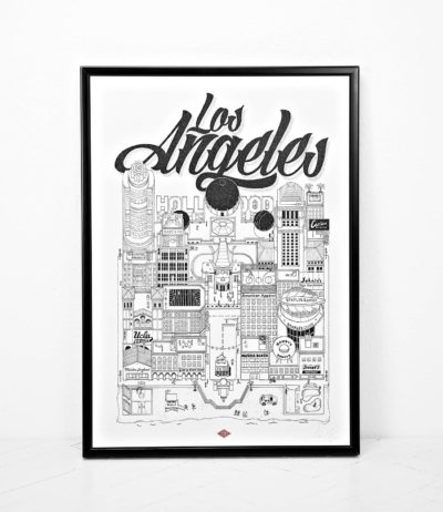 Affiche illustration ville los angeles docteur paper Dimensions : 45 x 32 cm