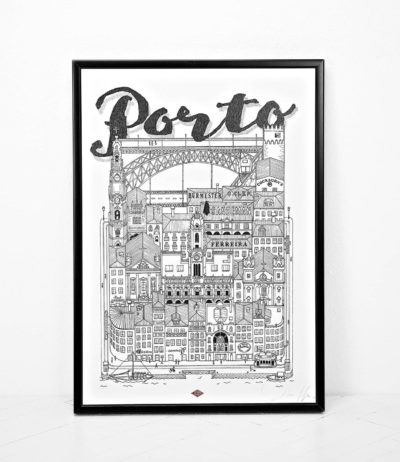 Affiche illustration ville porto portugal docteur paper Dimensions : 45 x 32 cm